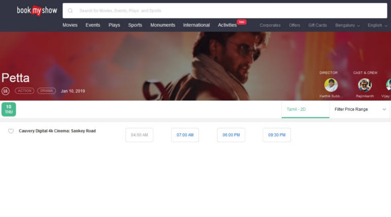Petta Online Bookings at Bangalore Started and Thalaivar Rage Sells Out FDFS Tickets in Minutes