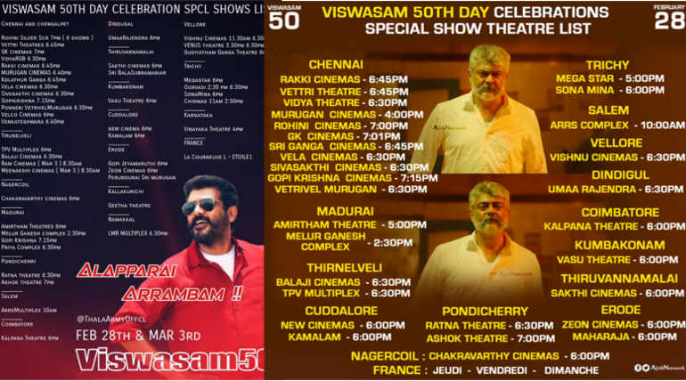 Viswasam 50 Days Celebrating Theaters in Tamil Nadu Huge Day for Thala Fans