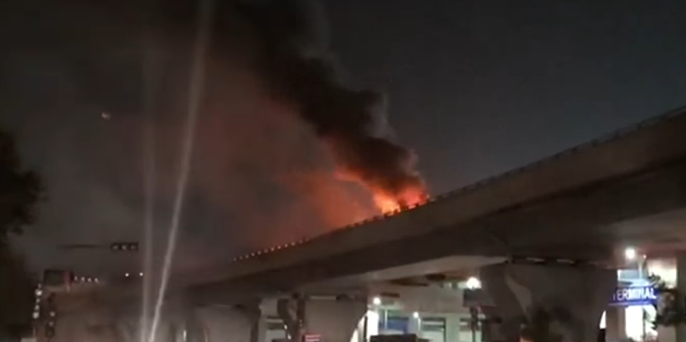 Car Fire near Chennai international airport flyover