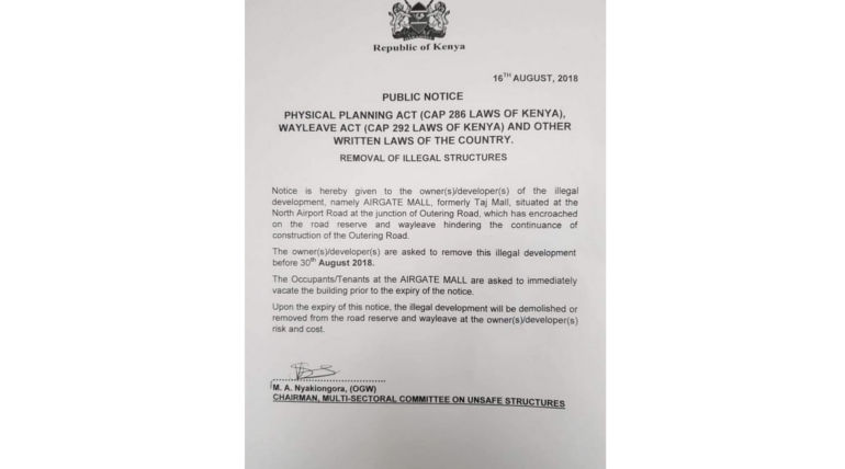 Government Notice, Pic Credit - @KinyanBoy Twitter