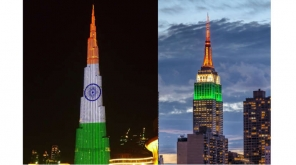 New York city's Empire State building, Burj Khalifa sport Indian Flag for Indian Independence Day