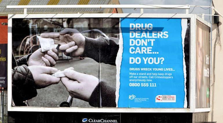 Poster against Drug Trafficking in Belfast, Northern Ireland