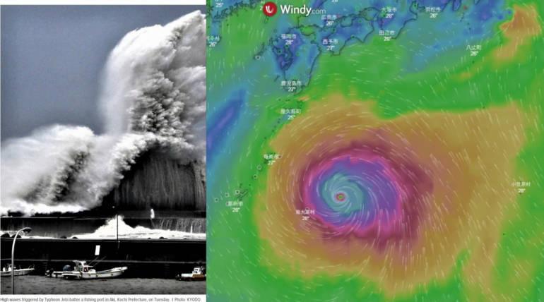 Typhoon Jebi Hits Japan, Causes Landfalls: Evacuation Advisories for 1 Million People , Pic Courtesy - KYODO, @AirportWebcams Twitter