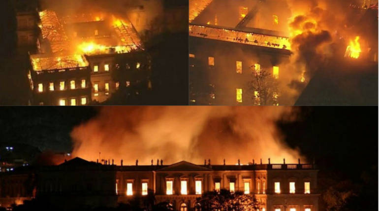 Brazil National Museum Destroyed by Huge Fire: 200 Year Old History Turns into Ashes , Pic Credit - @CGdrawing Twitter