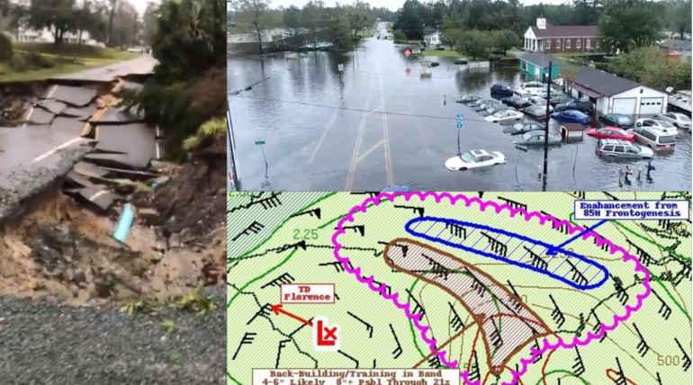 Hurricane weakens North and South Carolina: Latest Updates of Florence , Image Source - National Hurricane Center , @GeraldDThomas Twitter