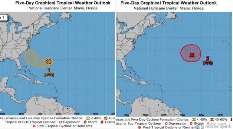 Tropical Storm Kirk and Subtropical Leslie Storm at Atlantic Posts Coastal Threat , Image Source - @NHC_Atlantic Twitter