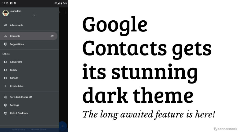 Google Contacts Dark Theme Mode has Finally Arrived - Here