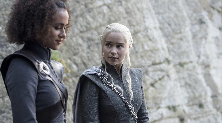 Nathalie Emmanuel and Emilia Clarke from Game of Thrones