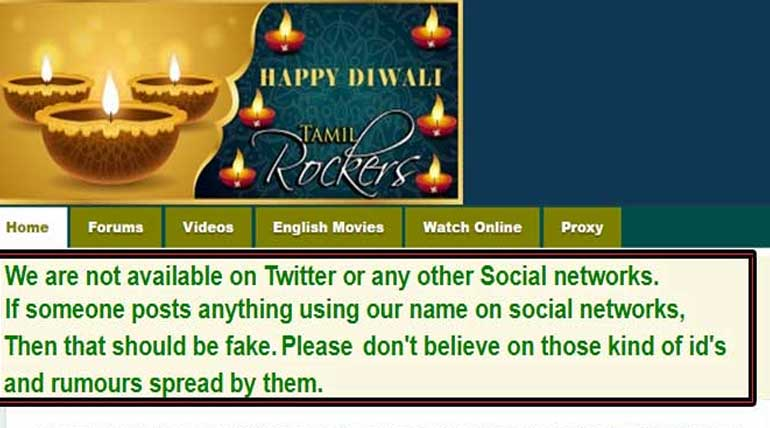We are not in Social media Tamilrockers Piracy website announcement