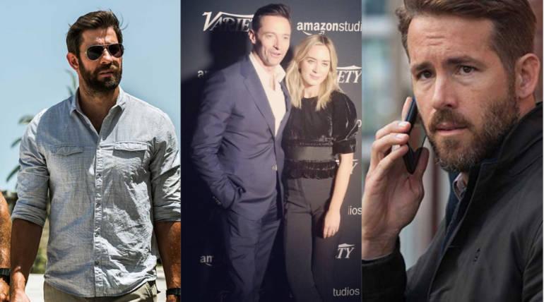 John Krasinski, Hugh Jackman with Emily Blunt and Ryan Reynolds