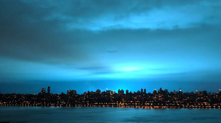 Reason for Intense Neon Blue Light in the New York Sky