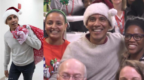 Santa Obama at Childrens National Hospital , Source - @ObamaFoundation