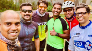 Suriya and Arya after a Long Cycle Ried , Image Source - Arya Twitter
