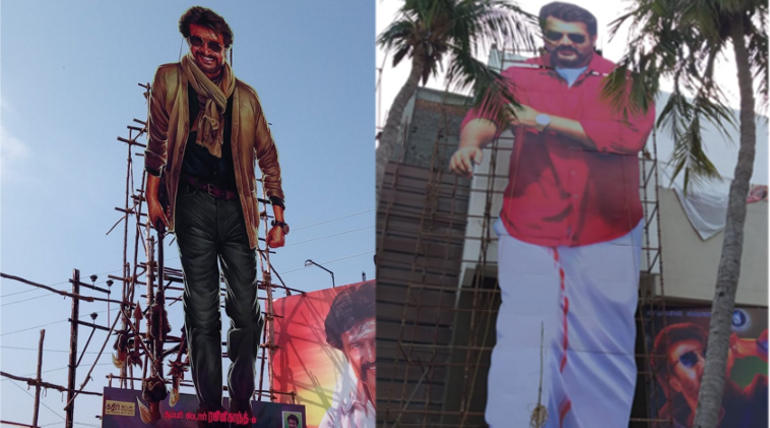 Petta and Viswasam Opening Box office Predictions , Image - Cutouts of Rajini and Ajith