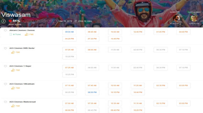 Viswasam Tamilrockers Leak Houseful Shows , Image BMS Snapshot