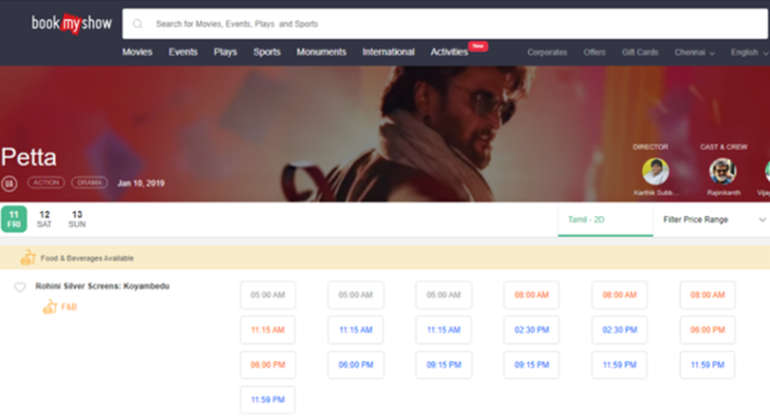 Petta Online Reservation in Chennai. Image: BookMyShow Screenshot