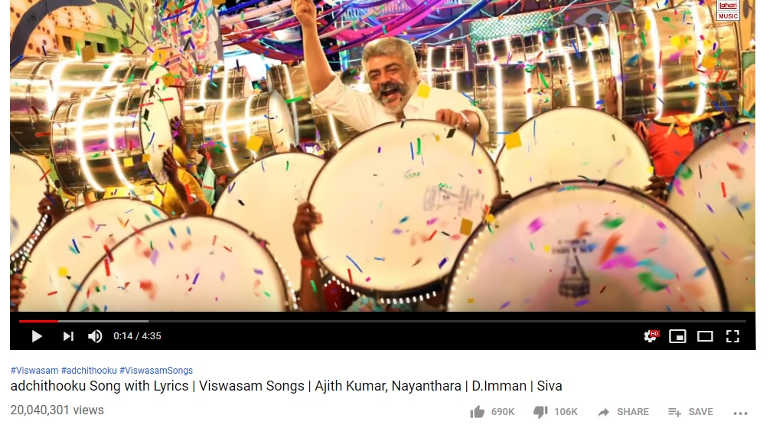 Viswasam Adchi Thooku is Raging YouTube Records