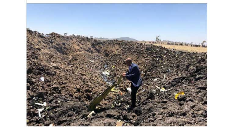 Ethiopian Airlines plane crash. 149 passengers and 8 crew members. Image Ethiopian Airlines