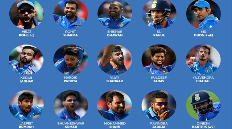 ICC CWC Indian Squad 2019 Courtesy - BCCI