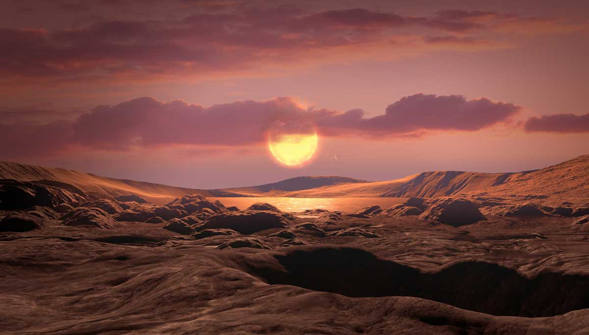 An illustration of what Kepler-1649c could look like from its surface. Credits: NASA/Ames Research Center/Daniel Rutter